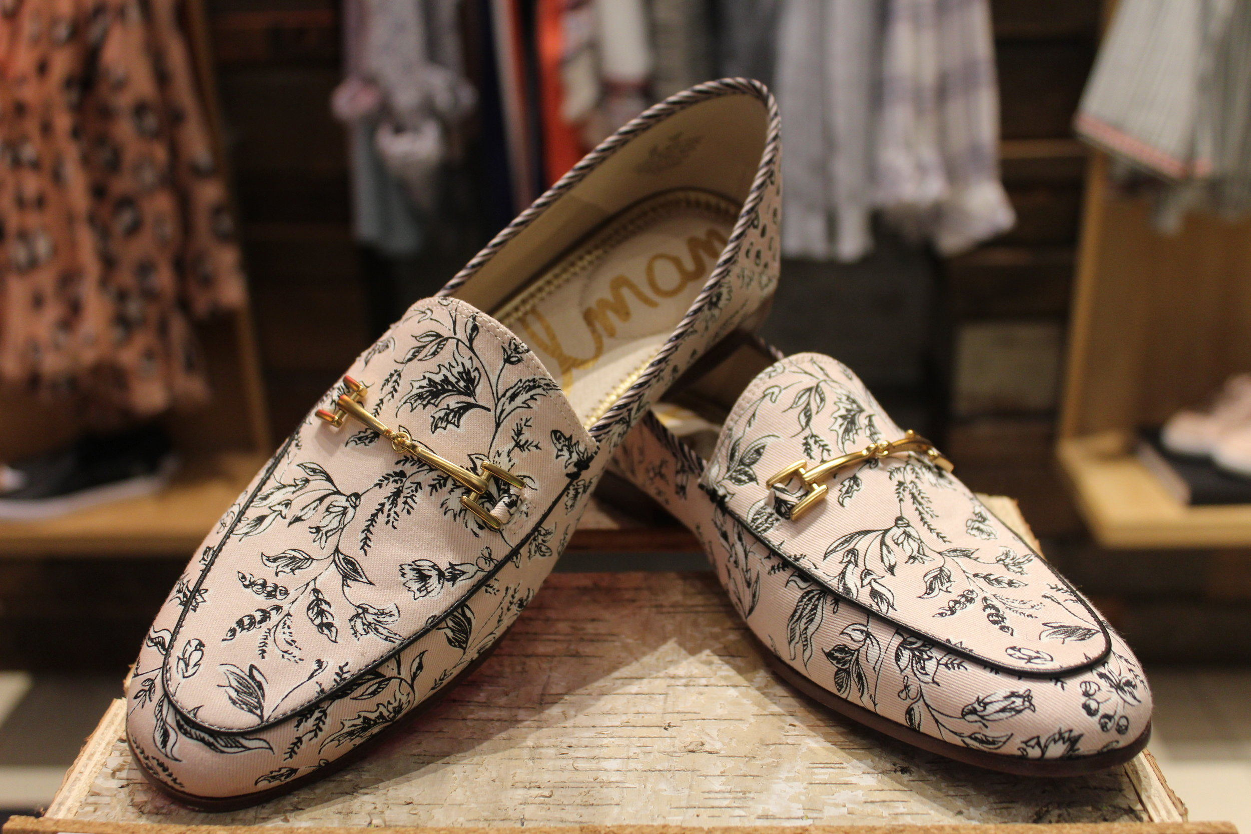 The loafer trend is huge this season! We love it because they're fresh alternative to a flat shoe. There are so many great prints and materials they come in - we're obsessed with these from  Sam Edelman , that double as a comfy shoe on the inside (retail workers tested) with a chic outside.  $175