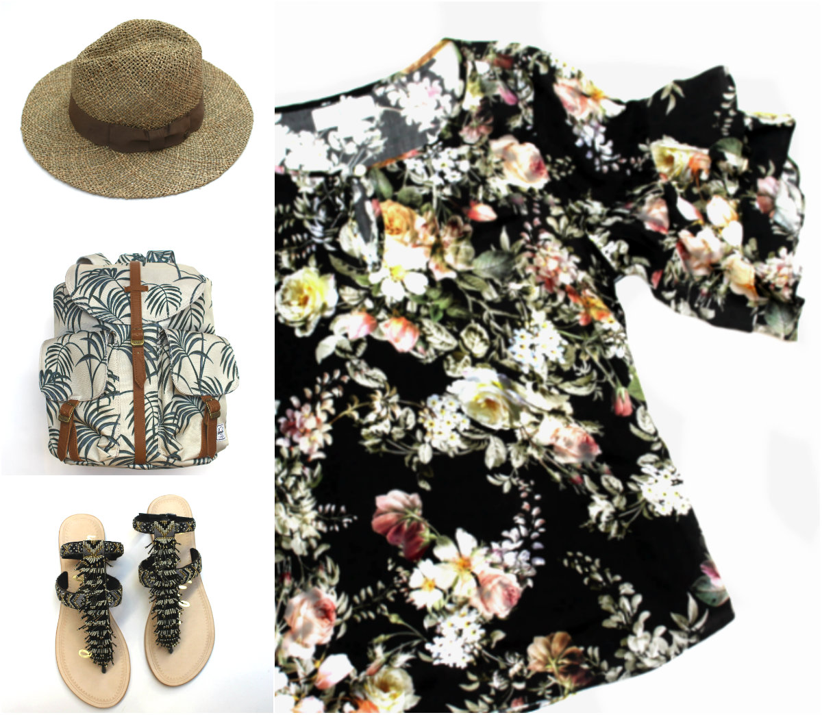 Brixton Straw Hat $55 Herschel Backpack $70 Sam Edelman Fringe Sandals $160 Velvet Floral Top $215