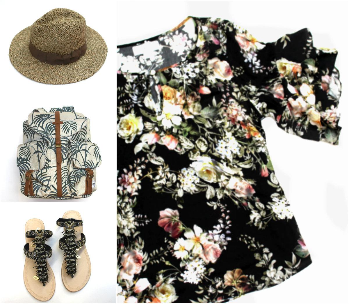 Brixton Straw Hat $55 Herschel Backpack $70 Sam Edelman Fringe Sandals $160 Velvet Floral Top $215