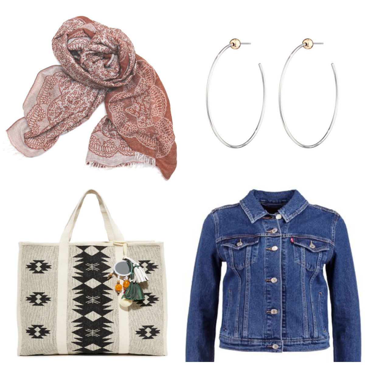 Jackson Rowe Scarf $60 Jenny Bird Icon Hoops $65 Star Mela Tote Bag $195 Levi's Authentic Denim Jacket $108