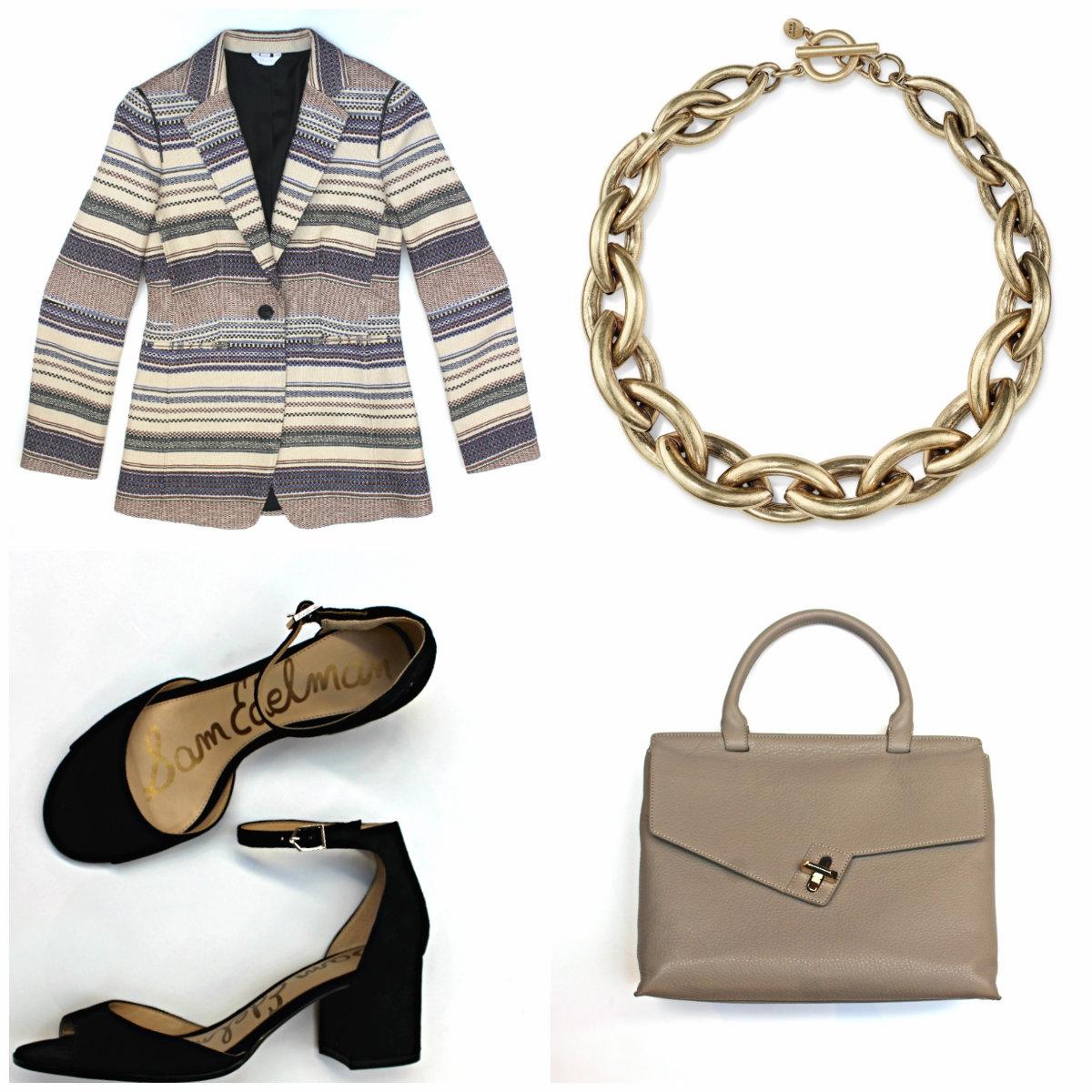 Sosken Blazer $395 Jenny Bird Sloan Collar $145 Sam Edelman Susie Heels $160 Ela Leather Lady Bag $485
