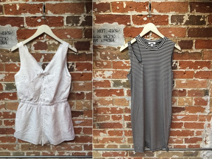 BB Dakota Eyelet Romper $118 LNA Sliced Striped Dress $165