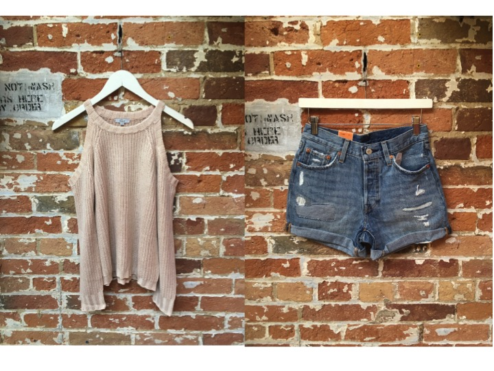 Rails Cold Shoulder Sweater $225 Levi's Denim Shorts $70