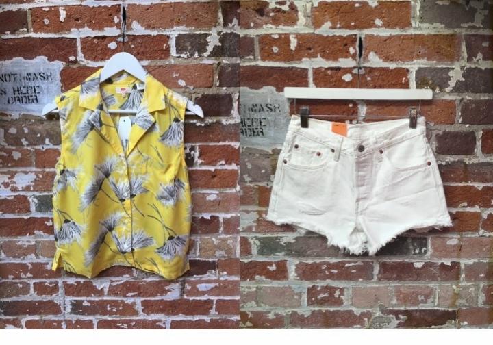 Levi's Sleeveless Button Up $60 Levi's Denim Cut-offs $70