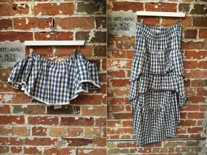 MISA Crop Top $225 MISA High-low Skirt $295 This set is for Gingham lovers, but if you only love one half.. try the top with high waisted white shorts or the skirt with a simple tee. Either way you're out dressing everyone else.