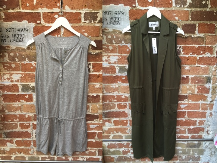 Velvet Cotton Slub Romper $199 BB Dakota Long Vest $139
