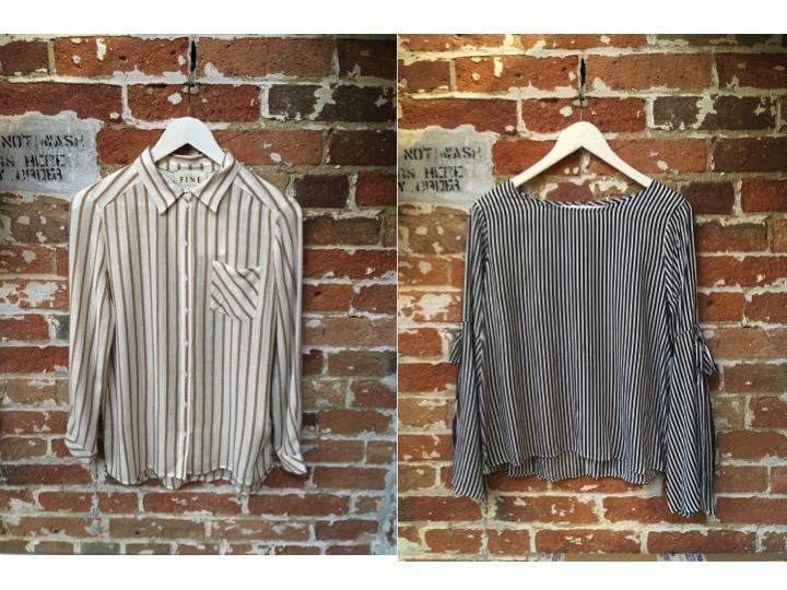FINE Collection Striped Button Down $234 Velvet Striped Blouse $195