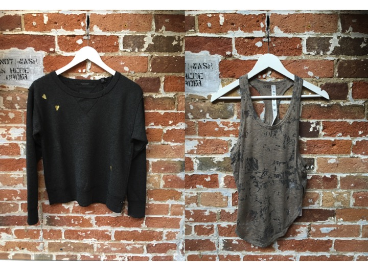 Maison Scotch Distressed Sweatshirt $145 Alo Yoga Burn Out Tank $76