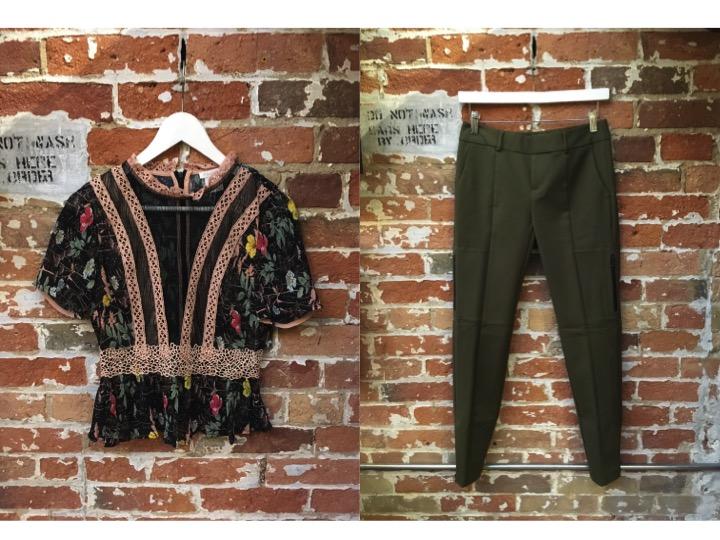 FoxieDox Floral Print Sheer Top $157 Ecru Dressy Cargo Pants $235