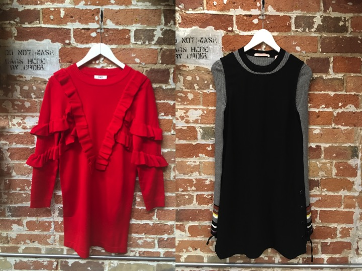 Suncoo Ruffle Dress $205  Maison Scotch Stripe Ribbed Sweater $145 Cupcakes & Cashmere Lace Up Sides Dress $140*** layer layer layer!