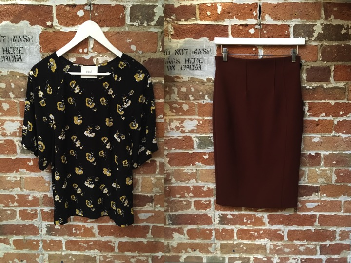 Just Female Floral Tee $140** hello nineties  Iris Setlakwe Pencil Skirt $235 ** comes in 2 other colours