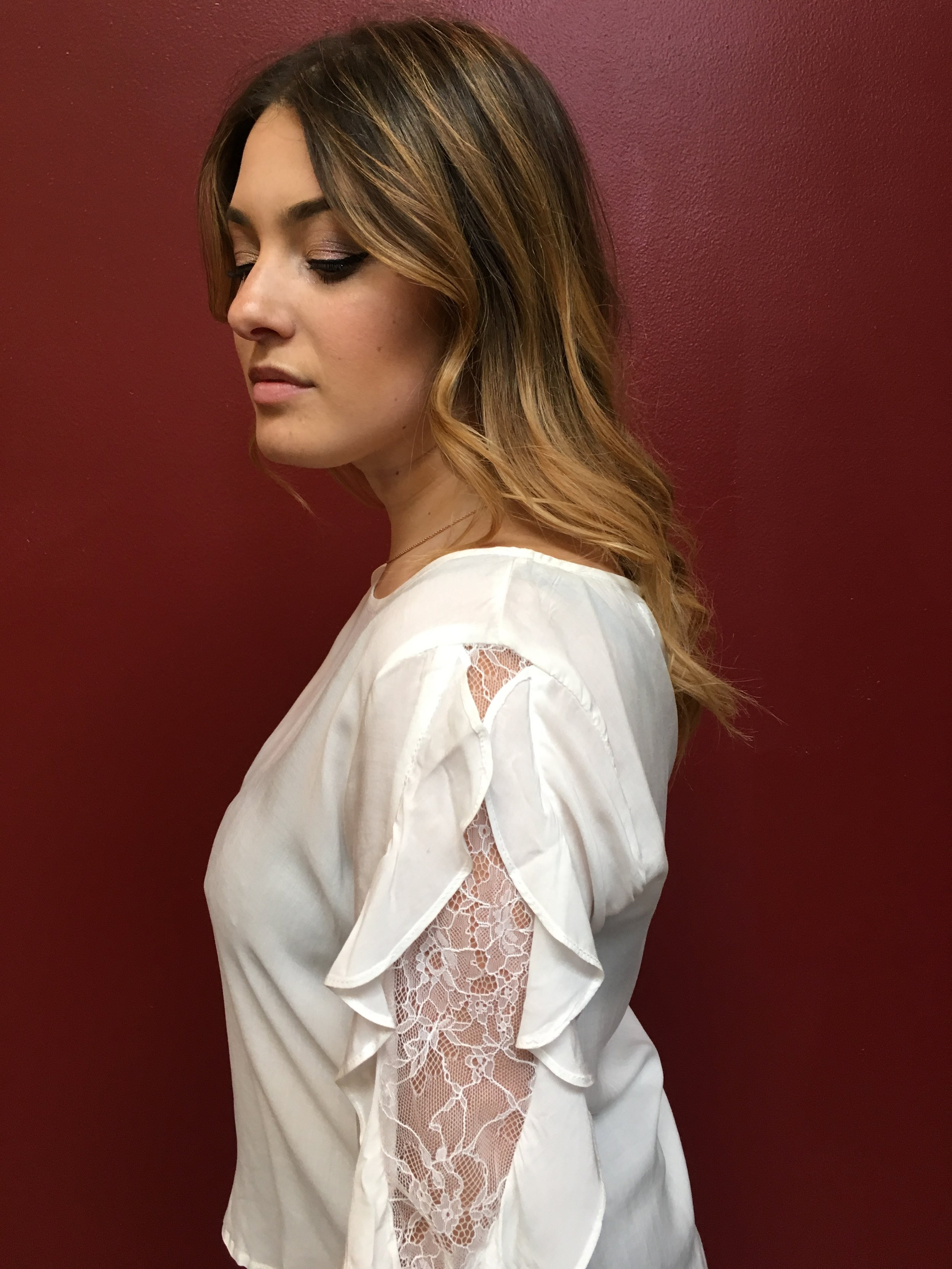 Play with ruffles and lace this season Velvet Ruffled Lace Blouse $160