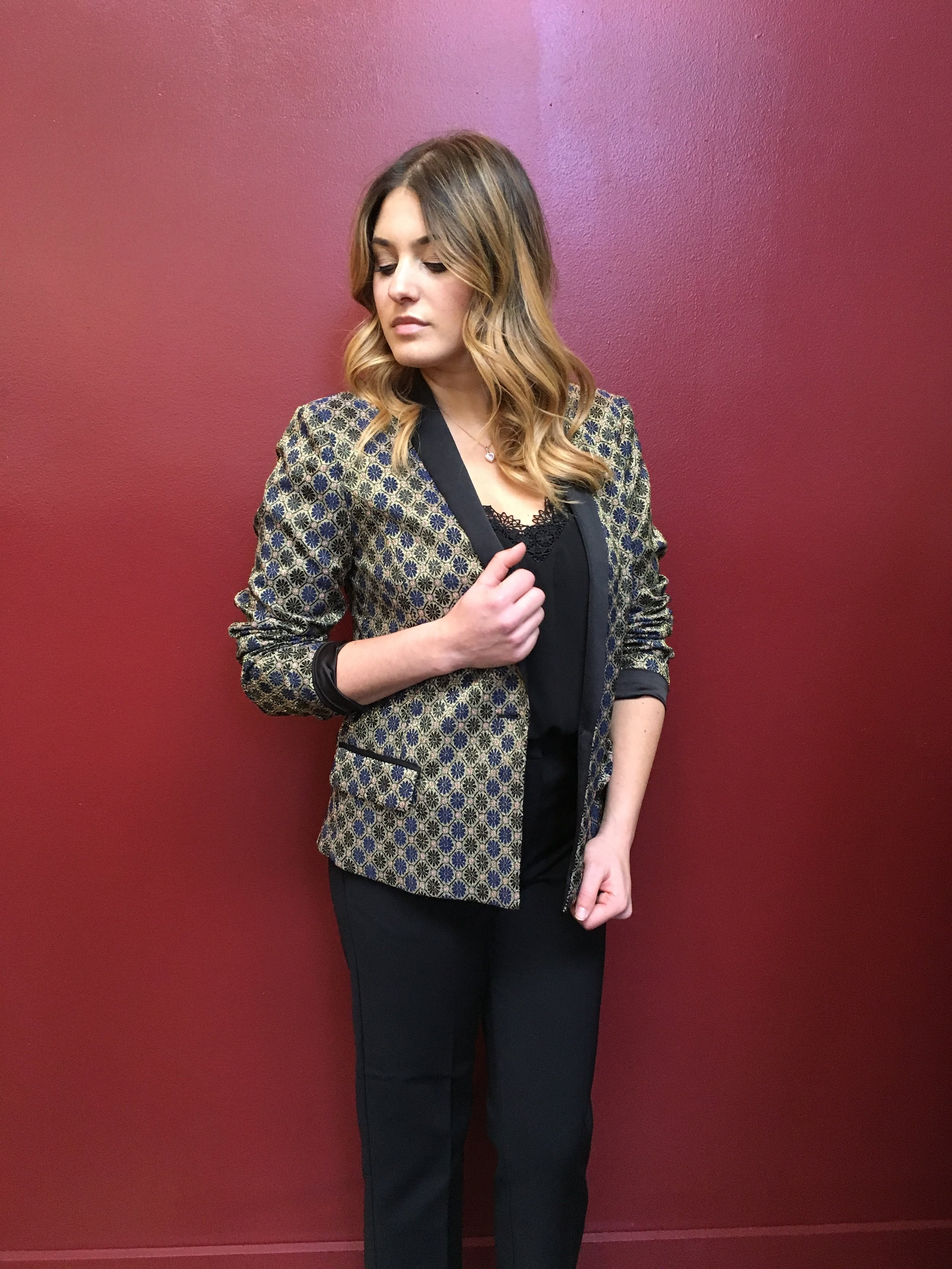 We say it every season, and every season one needs a new statement jacket! Our pick is this sparkly blazer from Maison Scotch Metallic Jacquard Blazer $299 Tiger of Sweden Stretch Cotton Pants $229