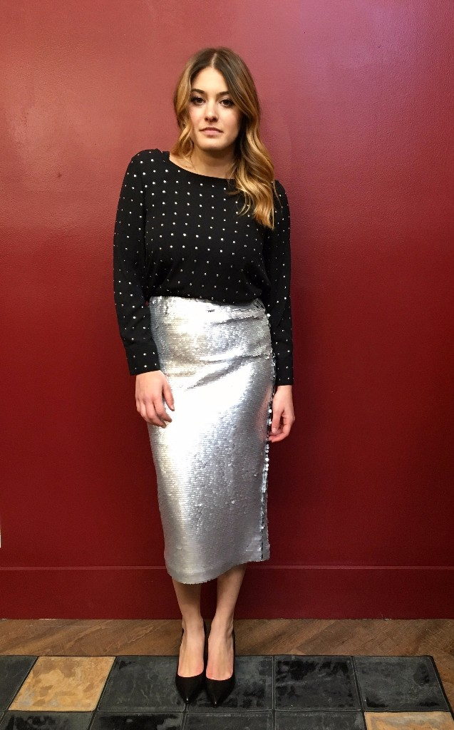 Suncoo Sequin Skirt $195 BB Dakota Studded Top $106