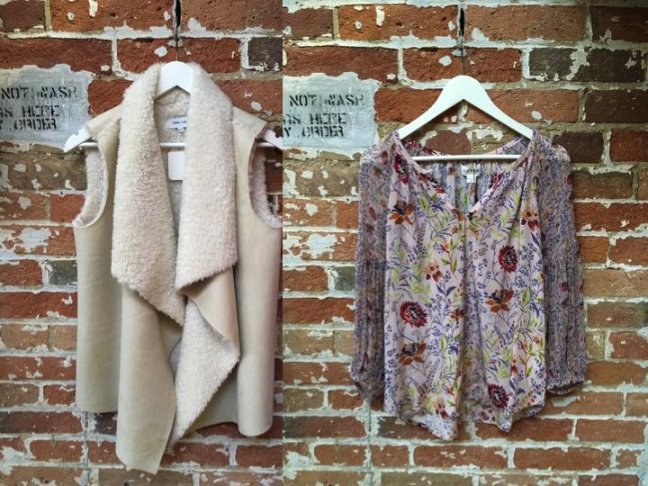 John & Jenn Shearling Vest $175 Velvet Floral Blouse $235