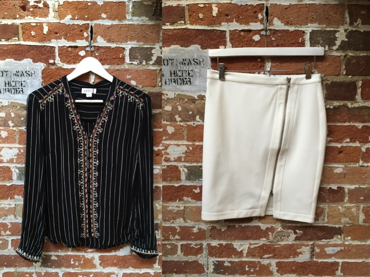 Velvet Striped Novelty Blouse $237 Cupcakes & Cashmere Ponte Pencil Skirt $145