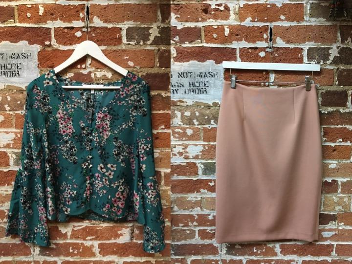 Cupcakes & Cashmere Floral $125 Iris Setlakwe Pencil Skirt $235