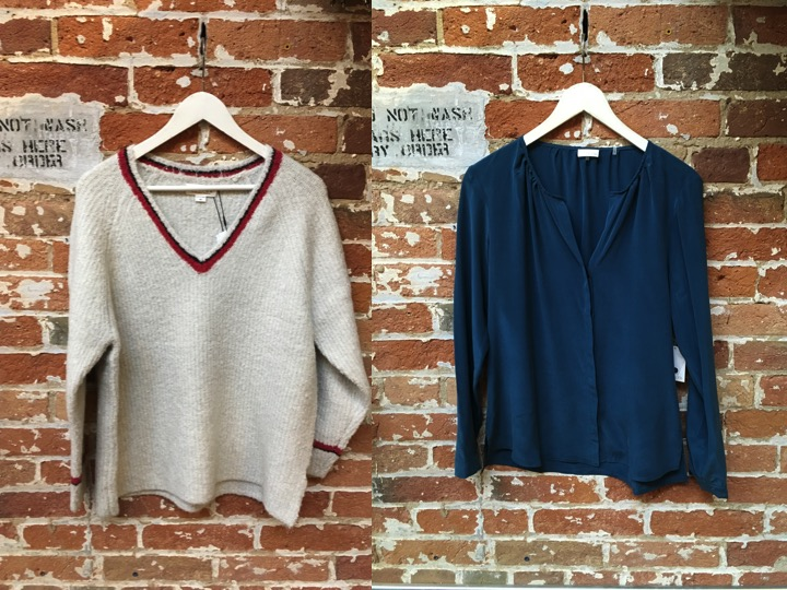 Velvet Boucle Varsity Sweater $250 Ecru Silk Blouse $248