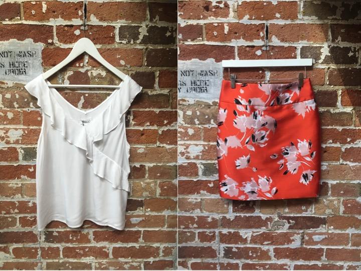 Velvet Ruffle Tank $138 Hugo Brocade Mini Skirt $375