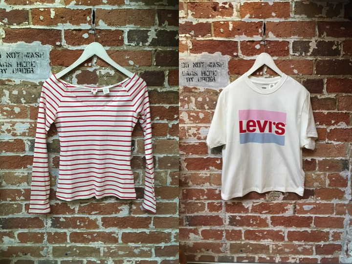 Levi's Off the Shoulder Top $40 Levi's Logo Tee $30