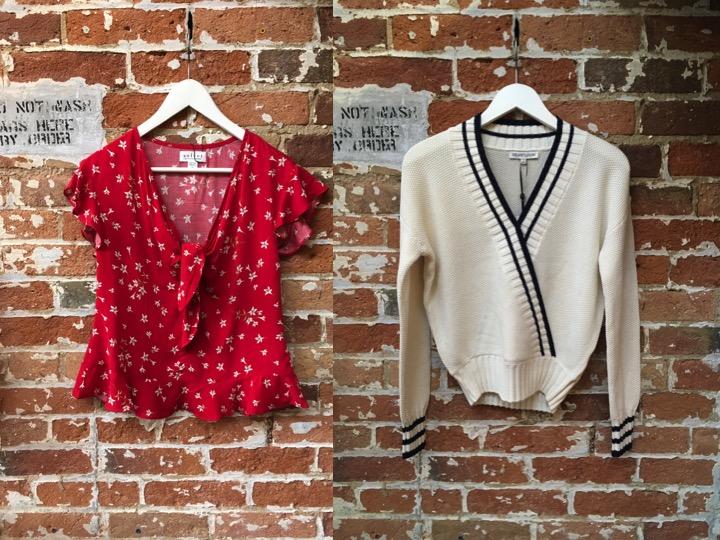 Velvet Floral Tie Top $187 Heartloom Varsity Stripe Sweater $127