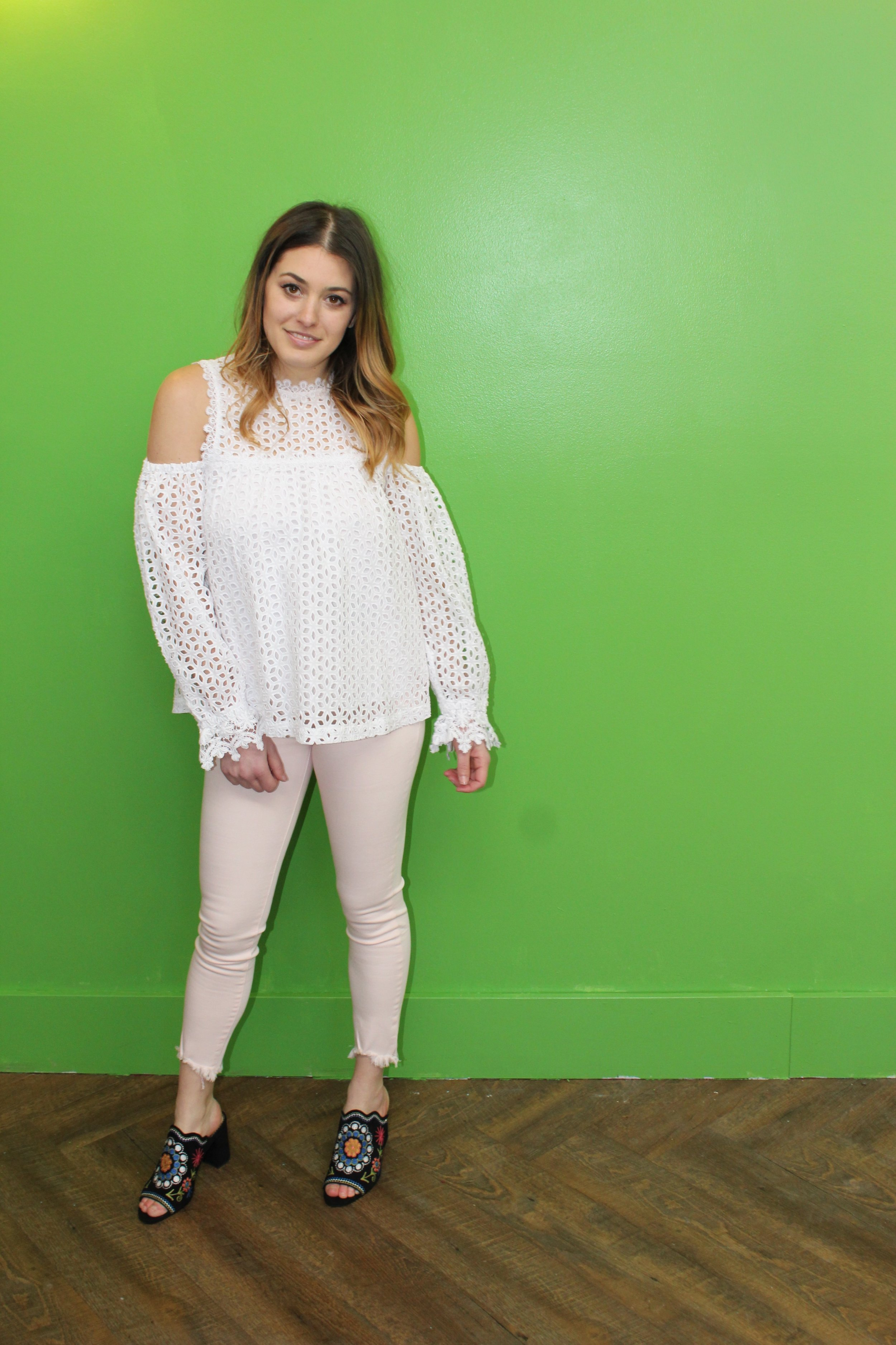 Suncoo Eyelet Blouse $235 DL1961 Florence Crop Jeans $255 Sam Edelman Embroidered Mules $185