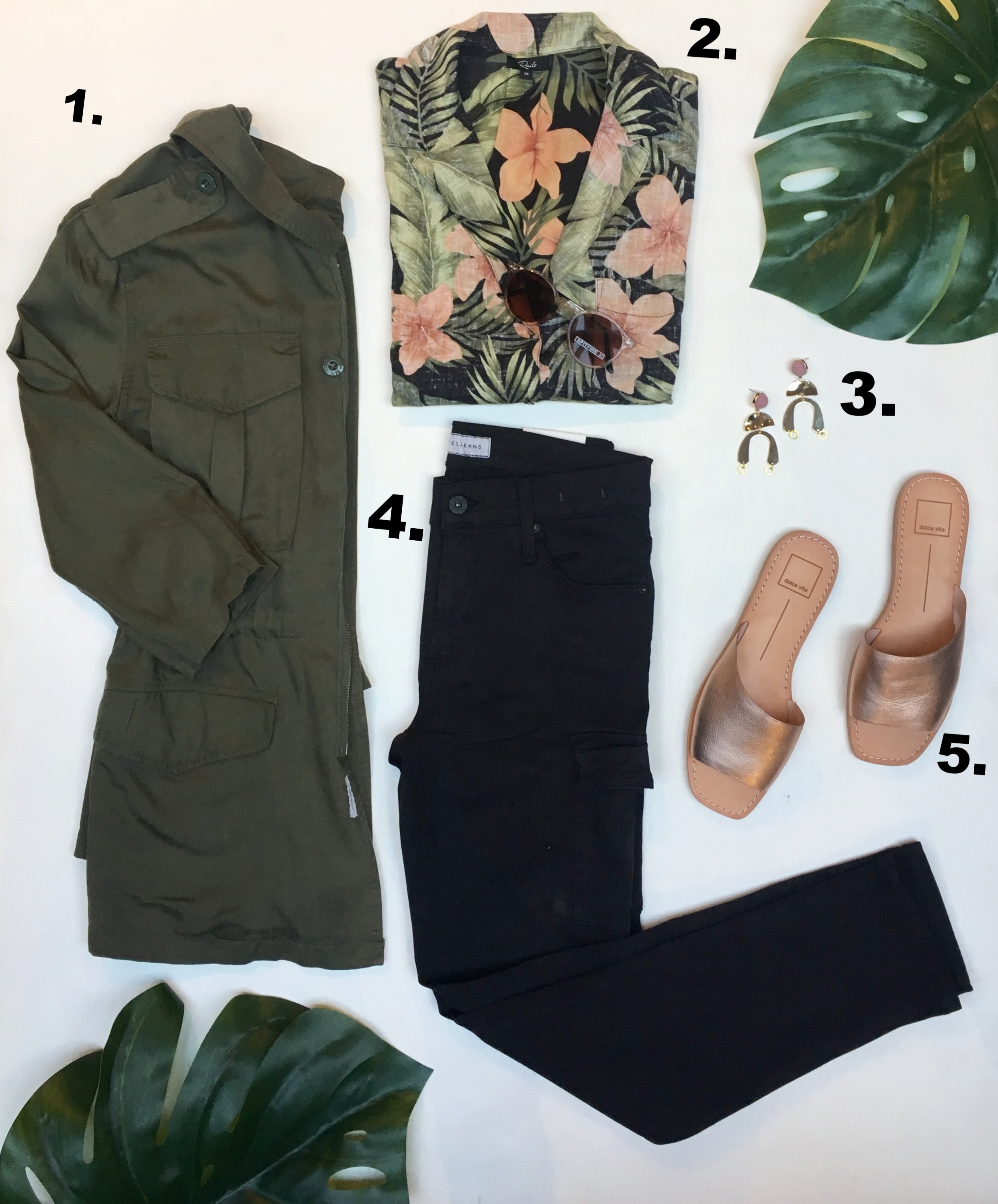 Cool Mom:  1. DL1961 does more than just jeans this season! They did this super soft military jacket that is a perfect layering piece for anyone. $250  2.Rails gets another mention here because if you didn't know they do more than just Plaid shirts, now you do. This linen tee is ideal for the heat we all know is coming one day. $175  3.Frug jewelry is another Canadian favourite. Out of Ottawa, they make super funky earrings and neckaces for affordable pricing! $40  4. James Jeans makes a skinny cargo pant and it is to die for! It fits amazing, lasts well and you makes you feel sexy. Trust us. $285 (it's worth the higher price point)  5. Dolce Vita Sandals are bringing you that trendy metallic colour in something you can actually wear over and over again! These cute sandals are just one of the flats this brand makes for us. $115