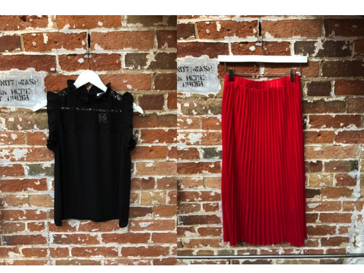 BB Dakota Lace Top $109 Just Female Pleated Skirt $155