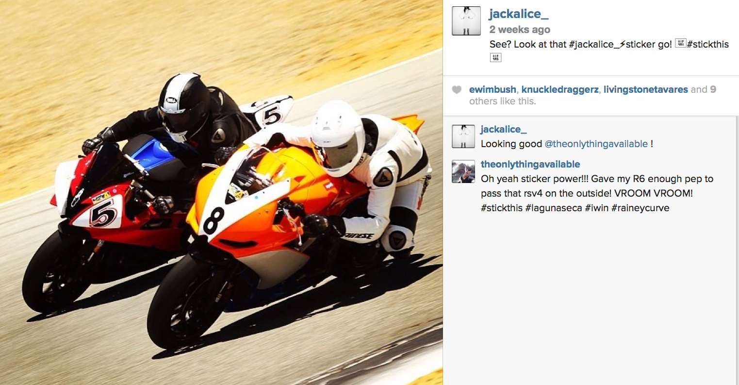 "See?  Look at that JACK ALICE sticker go!  #stickthis   ""Laguna Seca raceway with new sponsor JACK ALICE"""