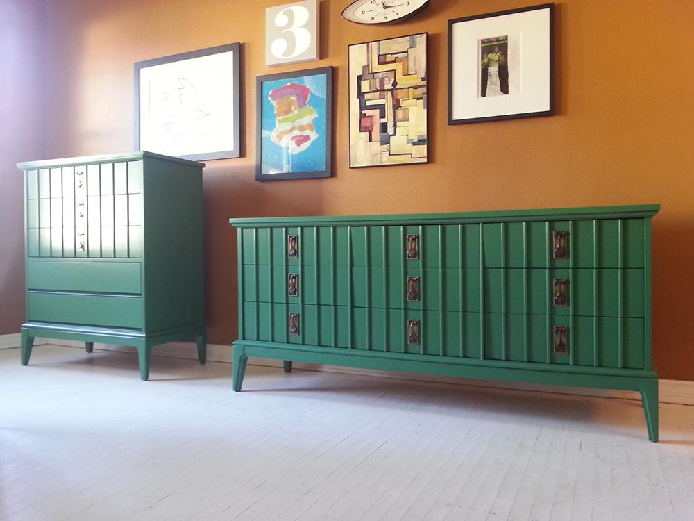 vintage green dresser