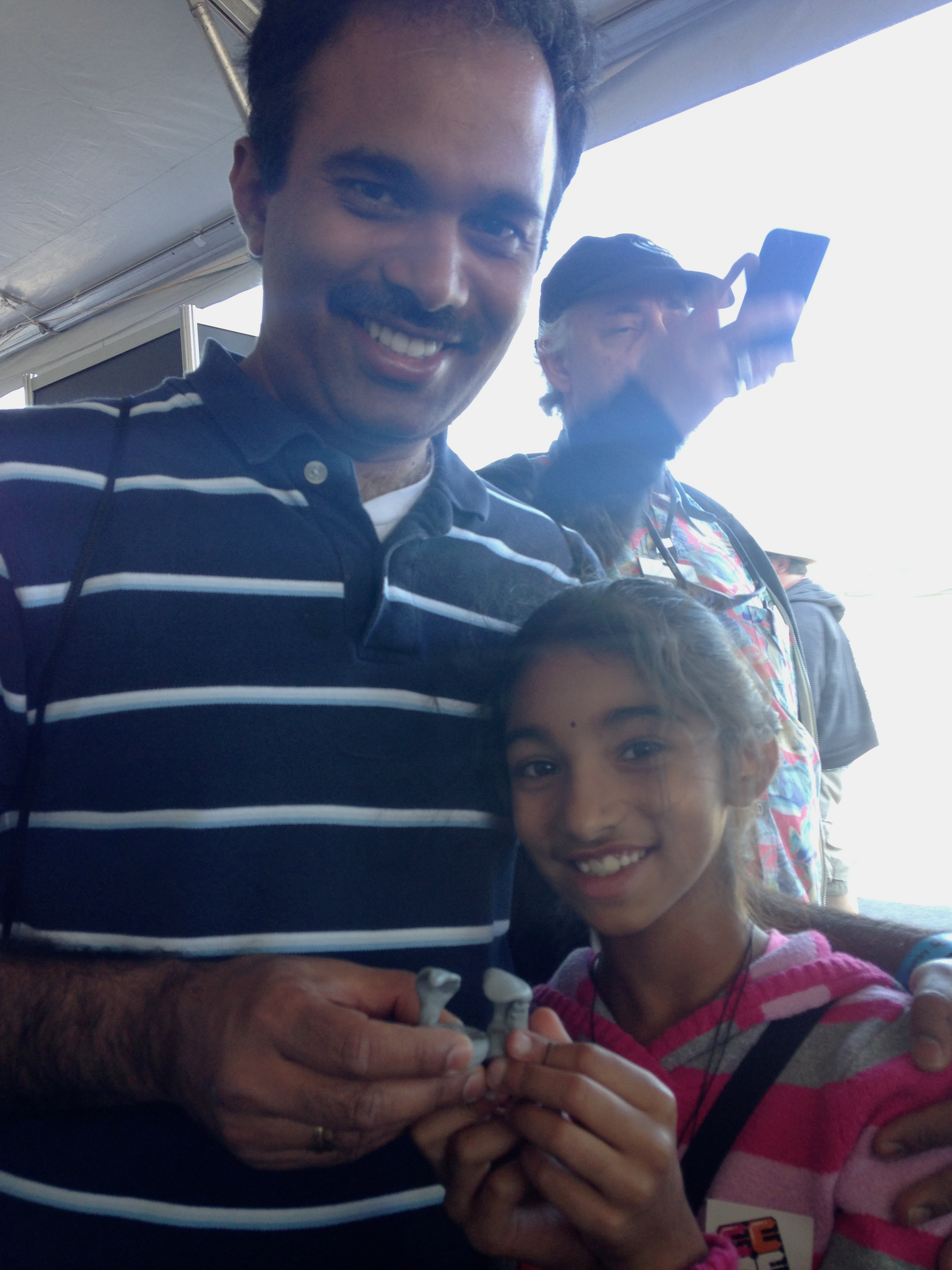 Father and daughter sculpting team! Mathur and Meghana both made fantastic cobras.
