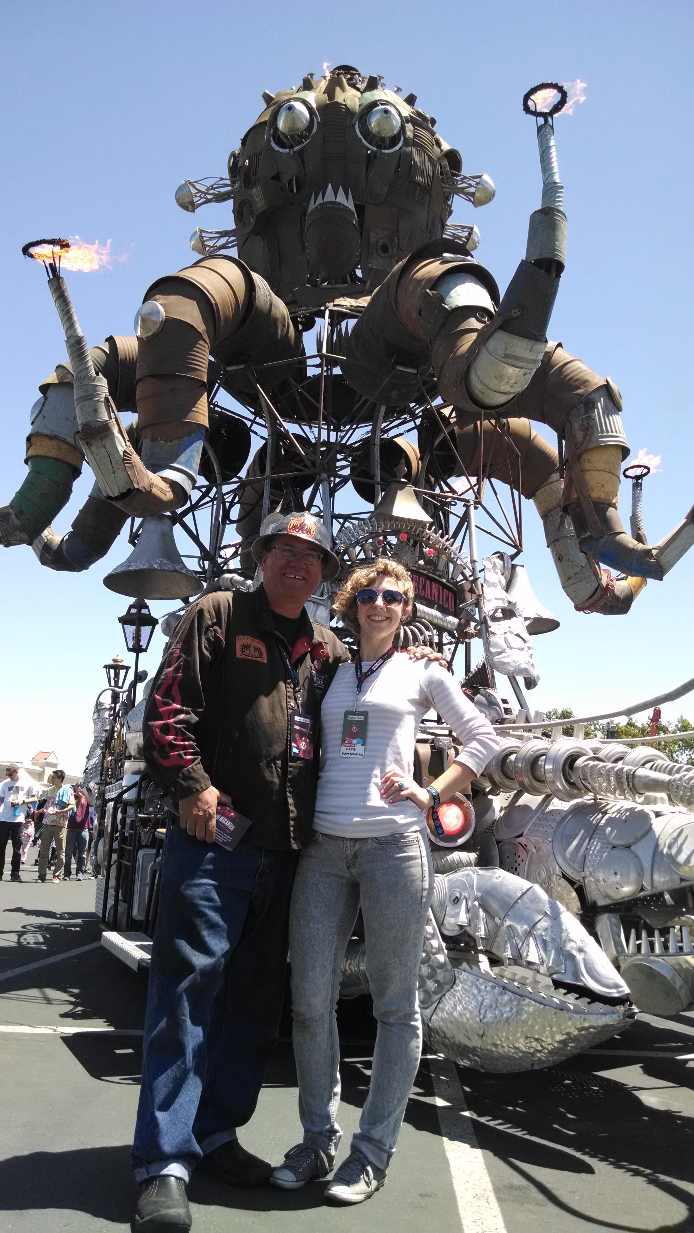 Alexis with Duane Flatmo, one of the co-creators of El Pulpo Mechanico!