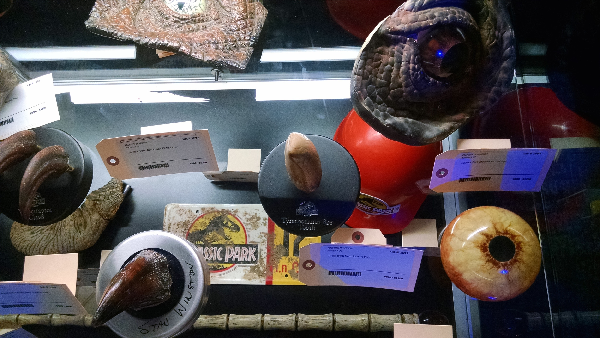 Screen used Jurassic Park special effects props were on display