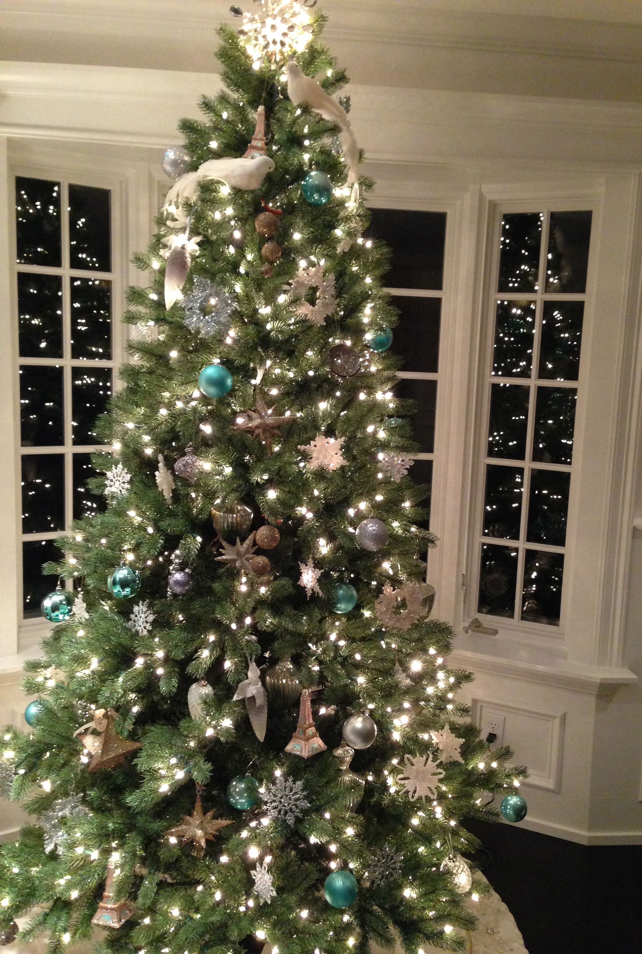 Silver, White and Blue Ornaments.