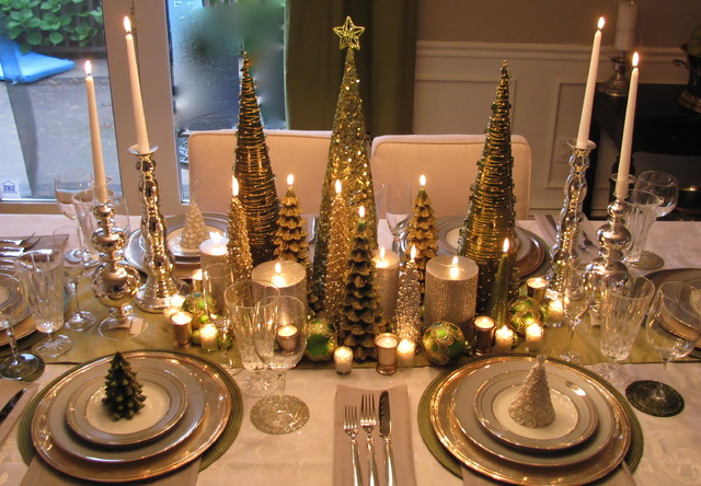 A small Christmas tree forest on the table via southshoredecoratingblog.com