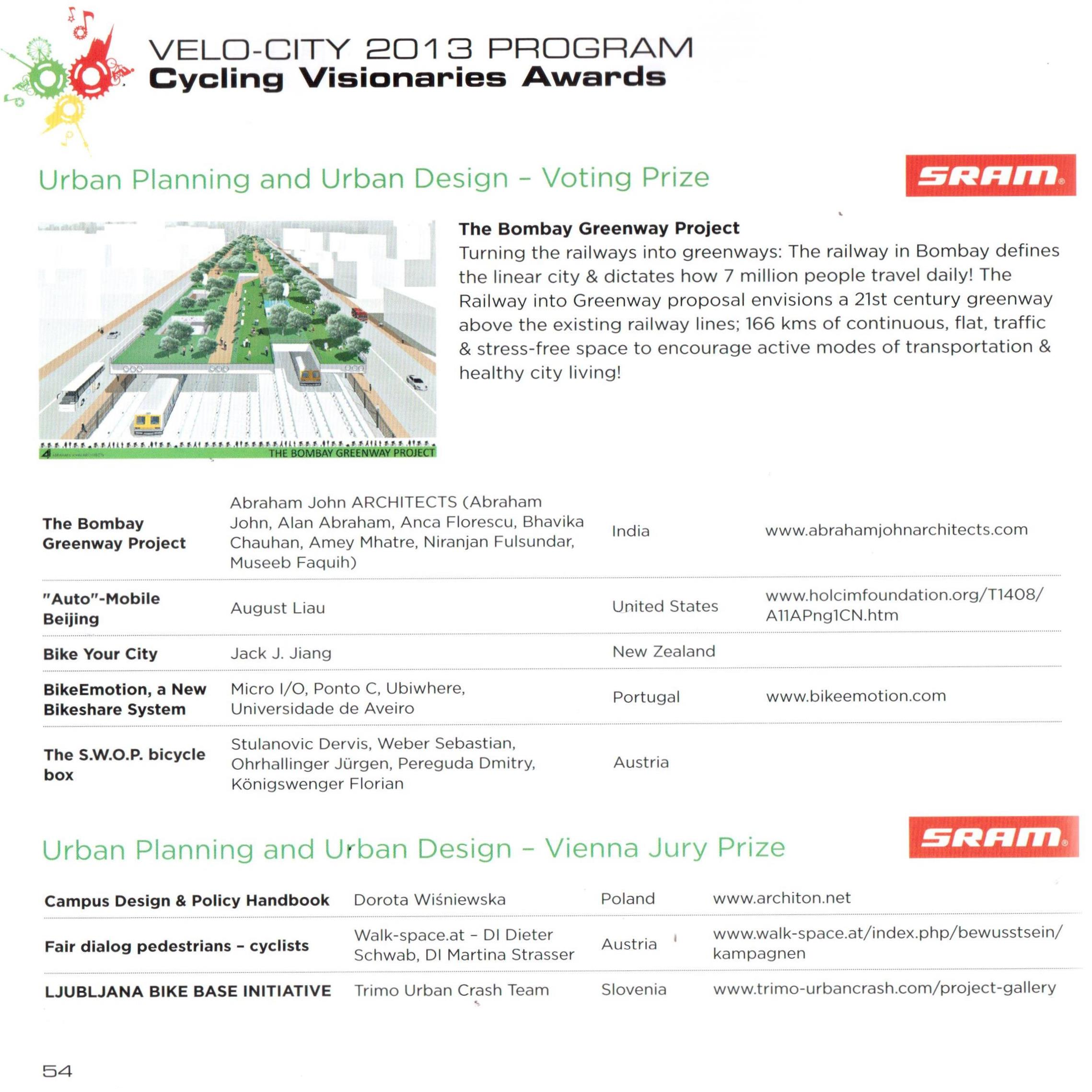 International Award for Urban Planning & Design Competition Velo-City , April 2013