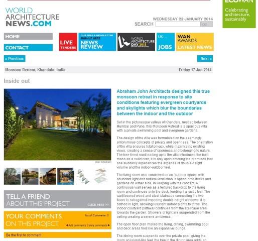 World Architecture News , 17 Jan, 2014