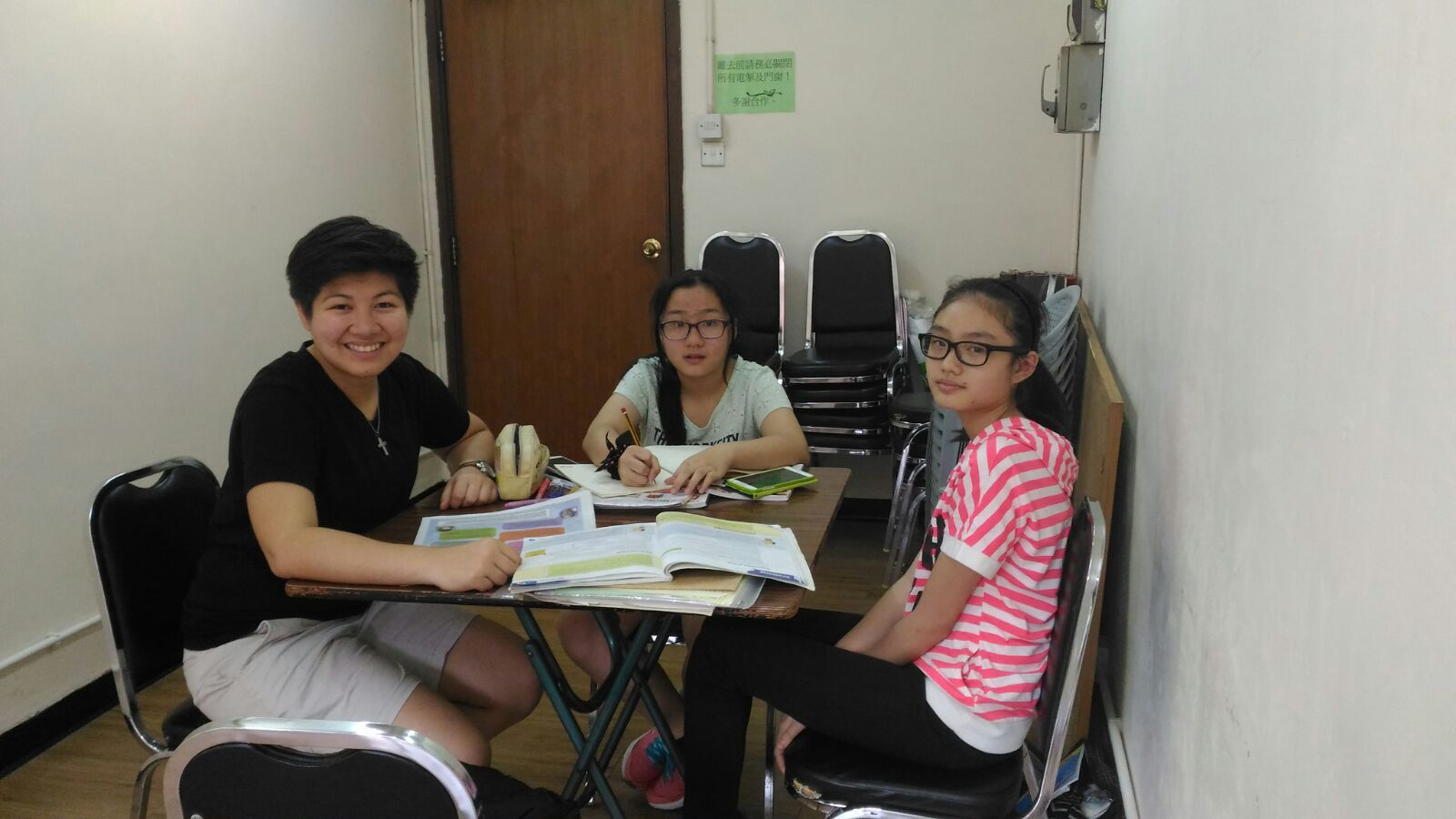 Franselaine with her two students on their first class