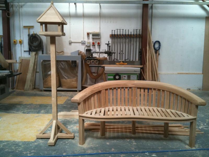 Garden bench and bird table.JPG