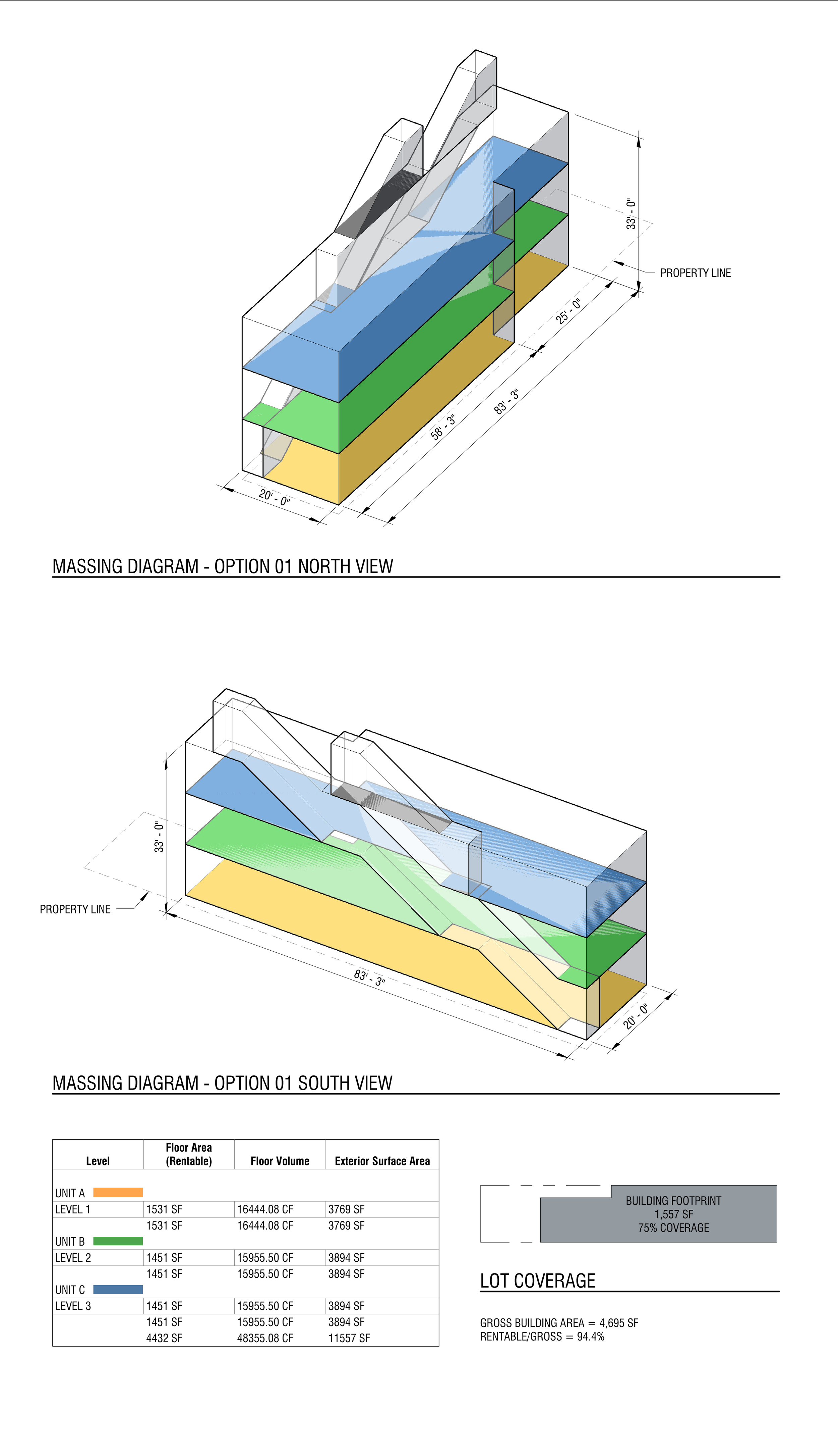 """^  The existing zoning for this site is outdated, has not bee remapped, and is such that there's no way out of a variance. Our task was to study the viable iterations within a reasonable zoning variance request. This first set of diagrams establish a """"baseline"""" case. It proposes the minimum, most """"digestible"""" bulk and density for the site."""