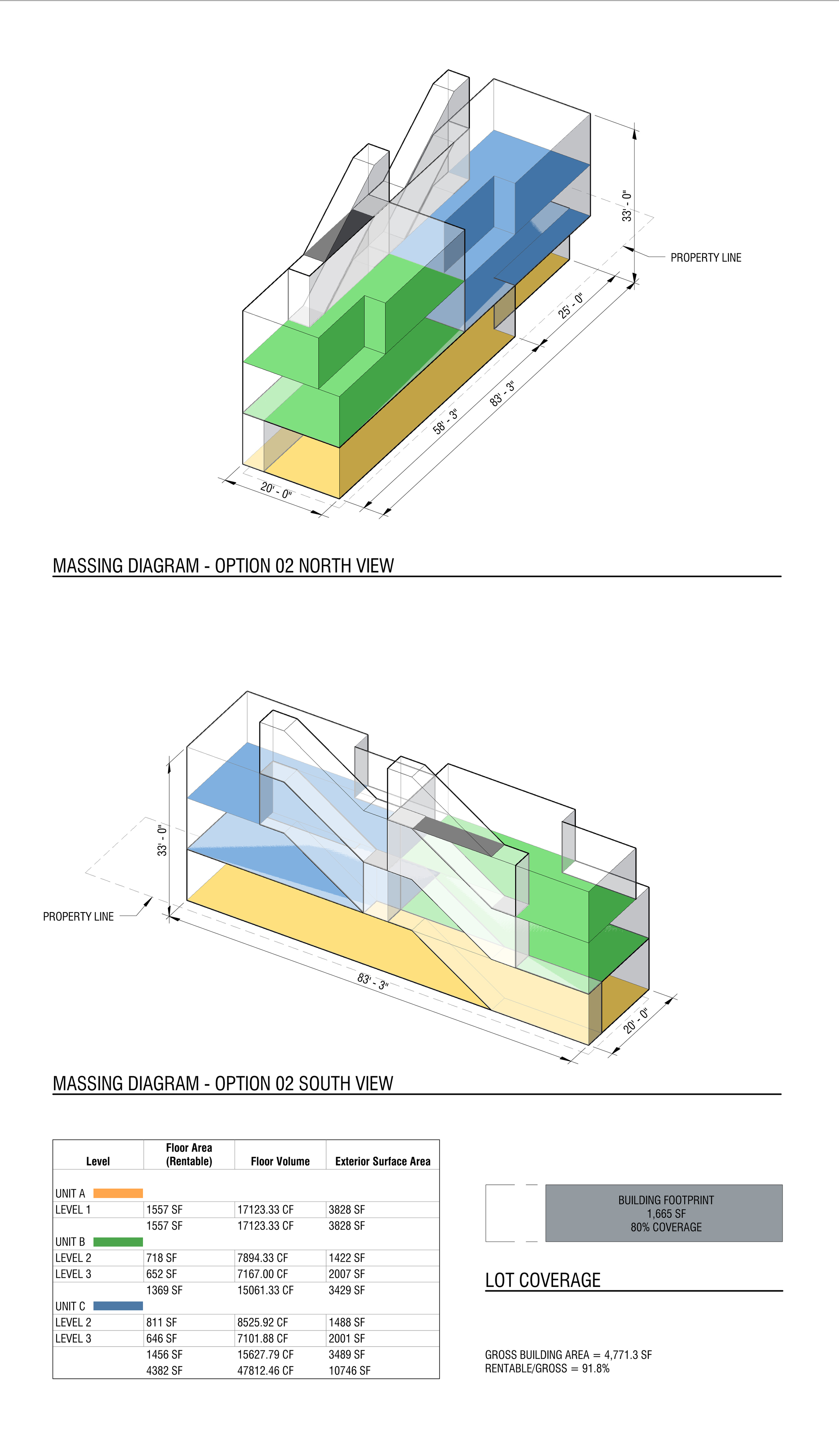 """^  The client (a developer) is interested in """"duplex"""" apartments (i.e., apartments with two internal levels). This iteration proposes this as an idea as well as increasing the overall building lot coverage."""