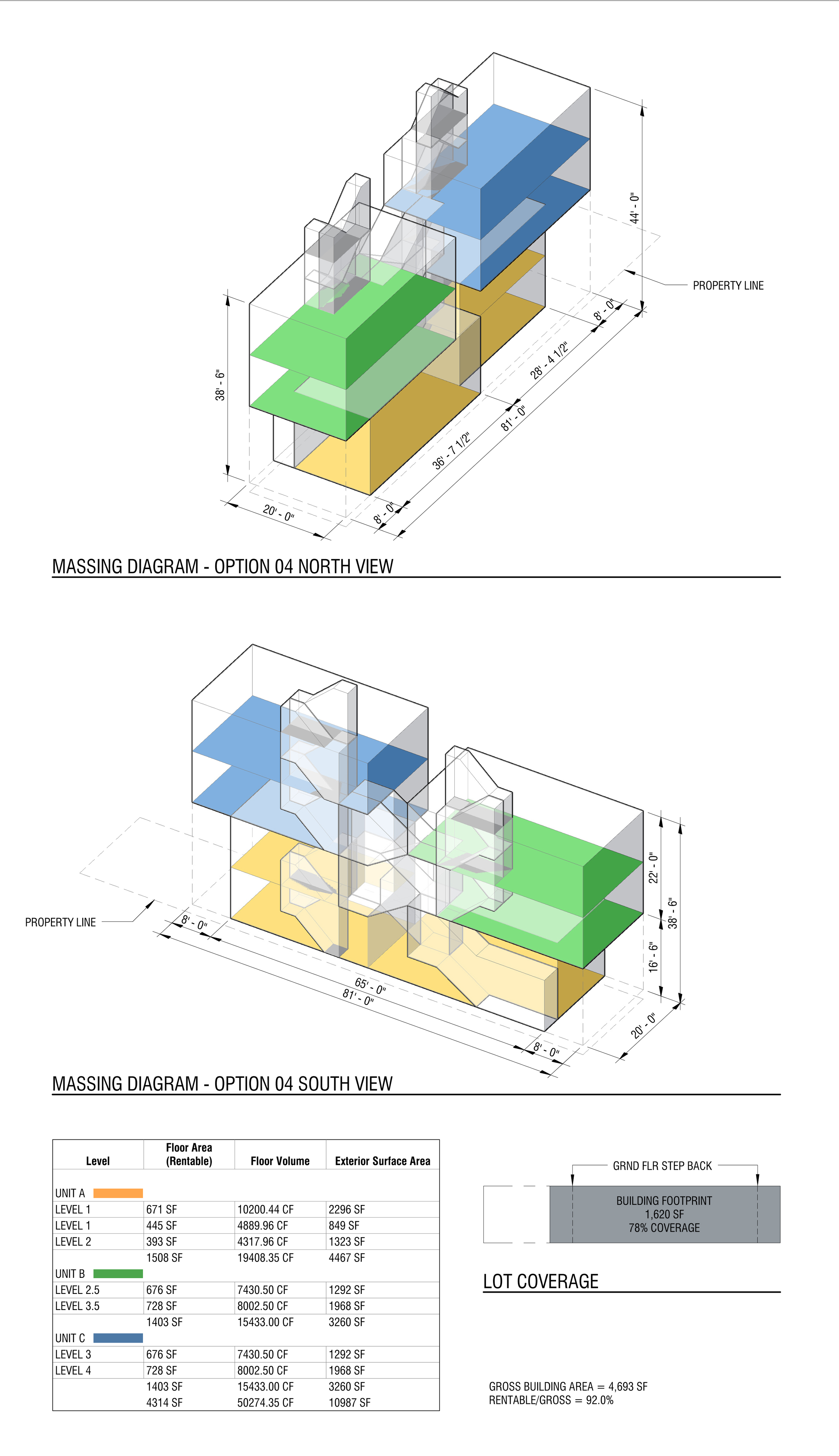"""^ This iteration utilizes a stacking approach that creates three """"duplex"""" apartments while minimizing the overall building lot coverage. Note that 78% lot coverage is the """"actual"""" coverage by code definition, but the ground floor step backs actually increase the amount of useable open area. This iteration also minimizes the common circulation (common stairs) by staggering the upper apartments vertically."""