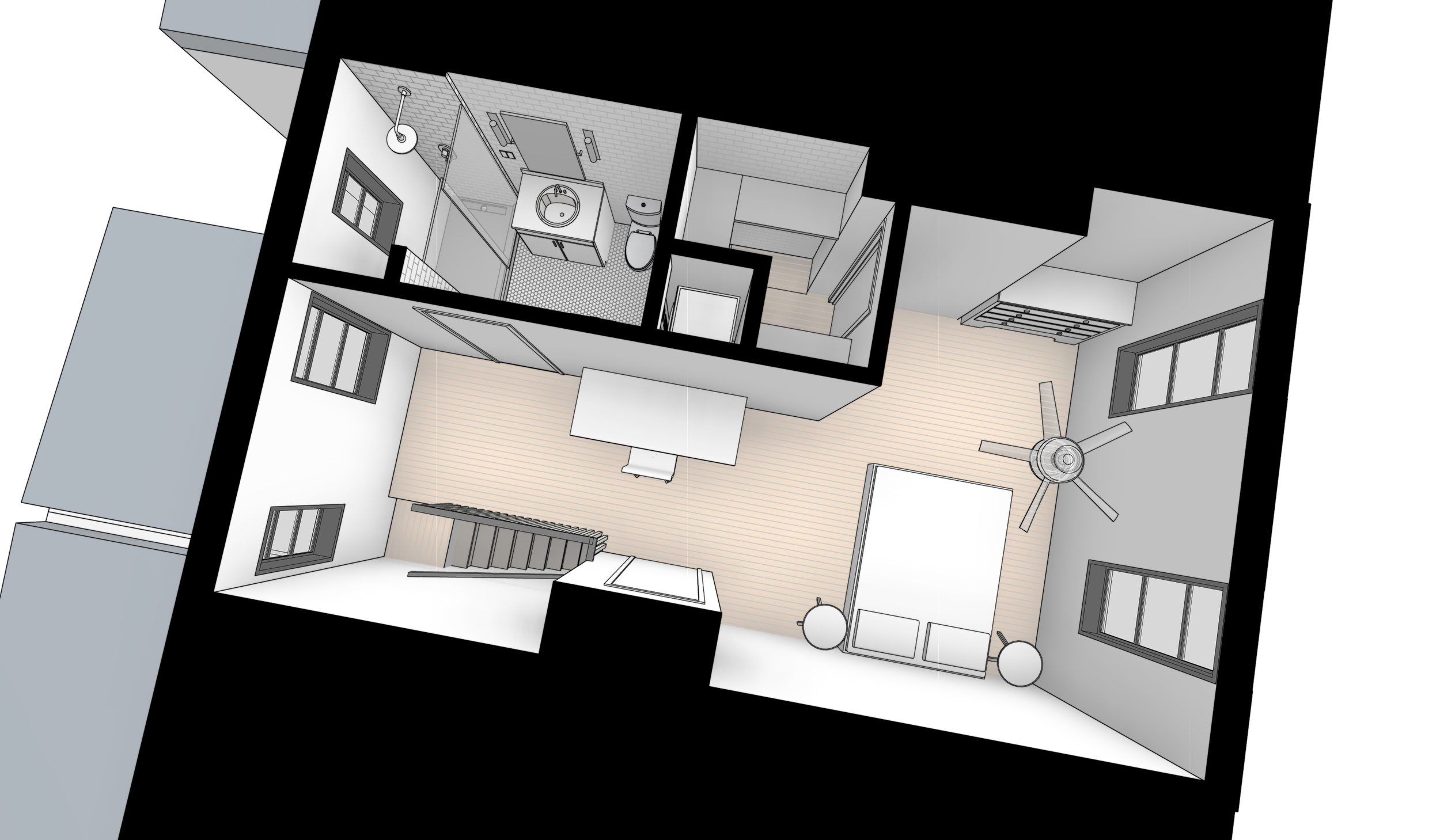 Cut-Away Perspective of Master Suite
