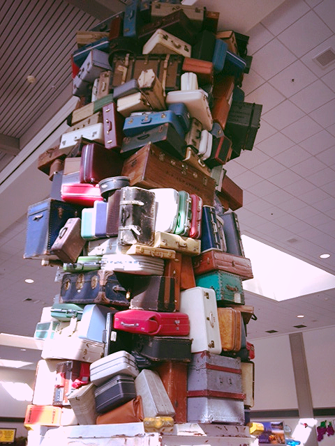 Lost Bags Sculpture in Sacramento Airport