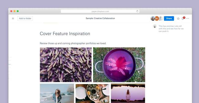 Working with images in Dropbox Paper