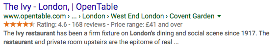 Example of rich snippets in action - besides a text description, users can also see a star rating, number of reviews and price range information about this London restaurant