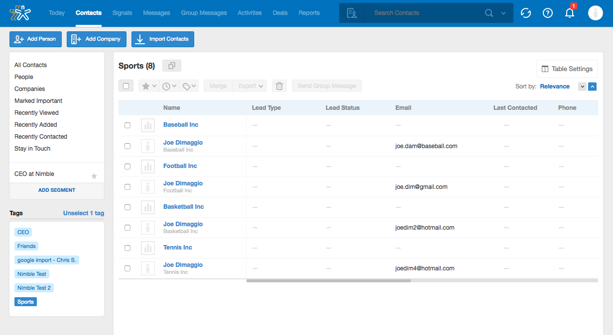 Tags in Nimble CRM