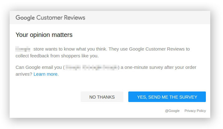 When you have Google Customer Reviews enabled in Bigcommerce, your customers are sent this email after marking a purchase.