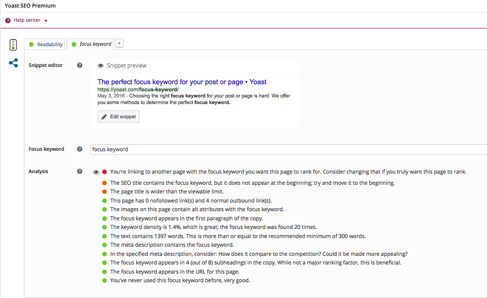 The Yoast plugin for Wordpress gives you a complete overview of all the things you should do to improve the SEO of a piece of content.
