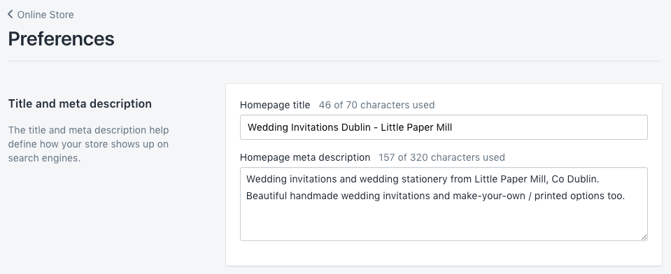 Editing the home page title in Shopify